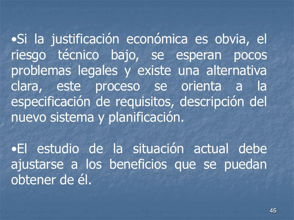 45 Si la justificación económica es obvia, el riesgo técnico bajo, se esperan pocos problemas legales y existe una alternativa clara, este proceso se