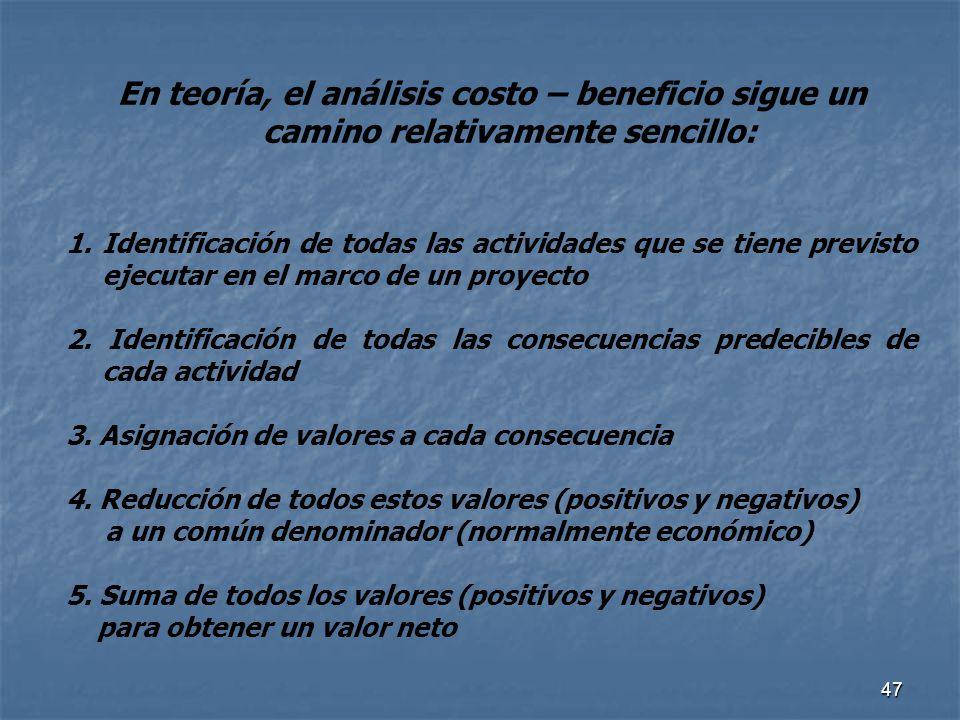47 En teoría, el análisis costo – beneficio sigue un camino relativamente sencillo: 1.Identificación de todas las actividades que se tiene previsto ej