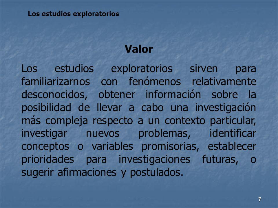 7 Los estudios exploratorios Valor Los estudios exploratorios sirven para familiarizarnos con fenómenos relativamente desconocidos, obtener informació