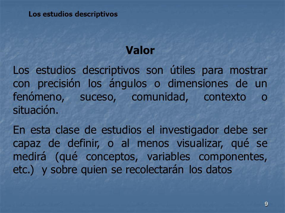 9 Los estudios descriptivos Valor Los estudios descriptivos son útiles para mostrar con precisión los ángulos o dimensiones de un fenómeno, suceso, co