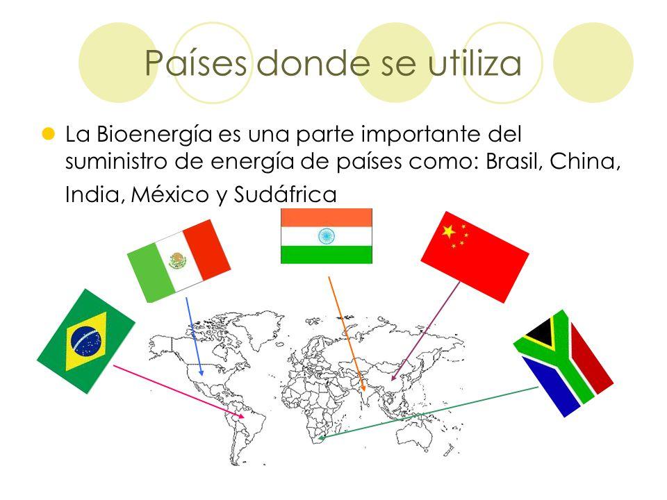 Países donde se utiliza La Bioenergía es una parte importante del suministro de energía de países como: Brasil, China, India, México y Sudáfrica