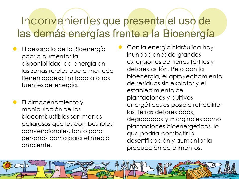 Inconvenientes que presenta el uso de las demás energías frente a la Bioenergía El desarrollo de la Bioenergía podría aumentar la disponibilidad de en