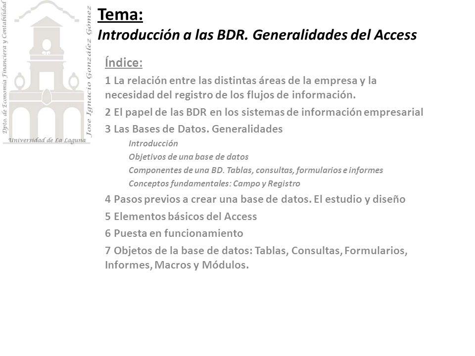 Tema: Introducción a las BDR. Generalidades del Access Índice: 1 La relación entre las distintas áreas de la empresa y la necesidad del registro de lo