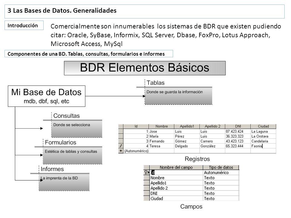 3 Las Bases de Datos. Generalidades Introducción Comercialmente son innumerables los sistemas de BDR que existen pudiendo citar: Oracle, SyBase, Infor