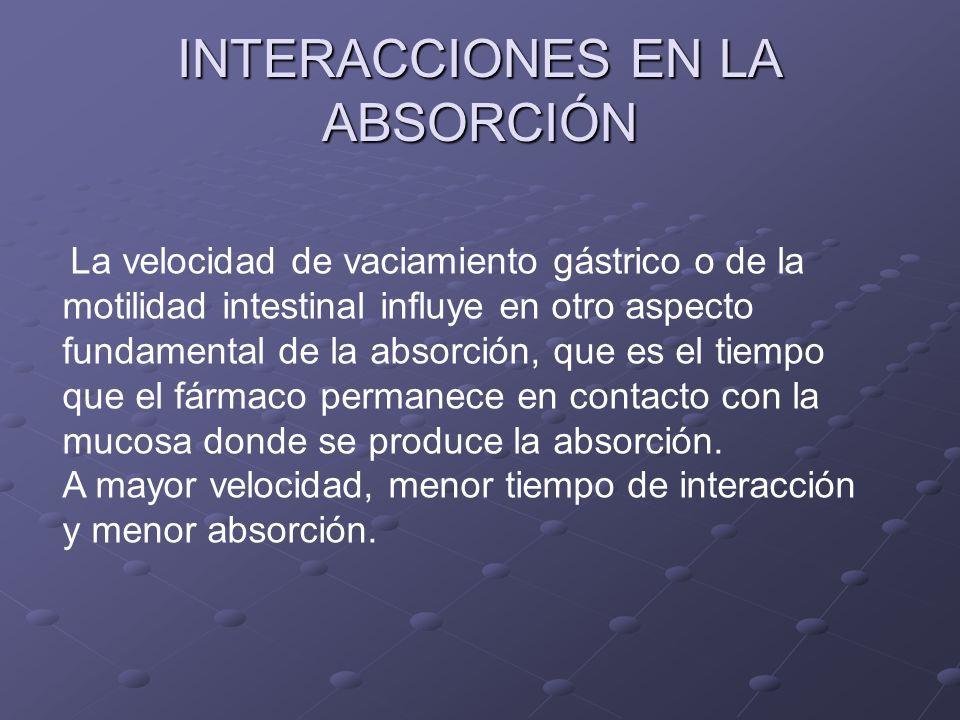 INTERACCIONES EN LA ABSORCIÓN La velocidad de vaciamiento gástrico o de la motilidad intestinal influye en otro aspecto fundamental de la absorción, q
