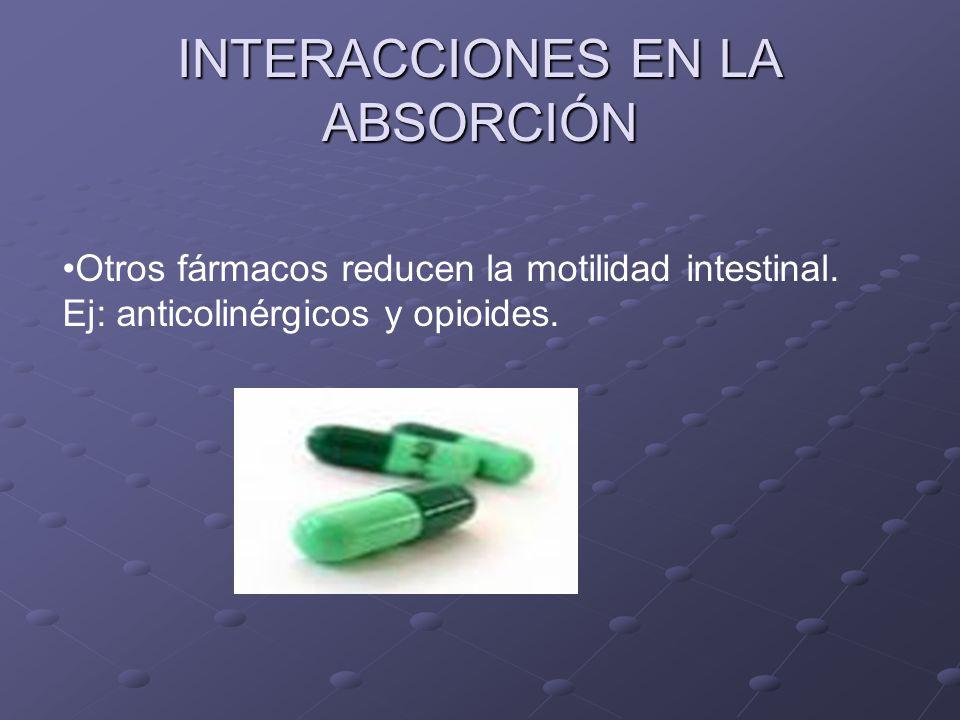 INTERACCIONES EN LA ABSORCIÓN Otros fármacos reducen la motilidad intestinal. Ej: anticolinérgicos y opioides.