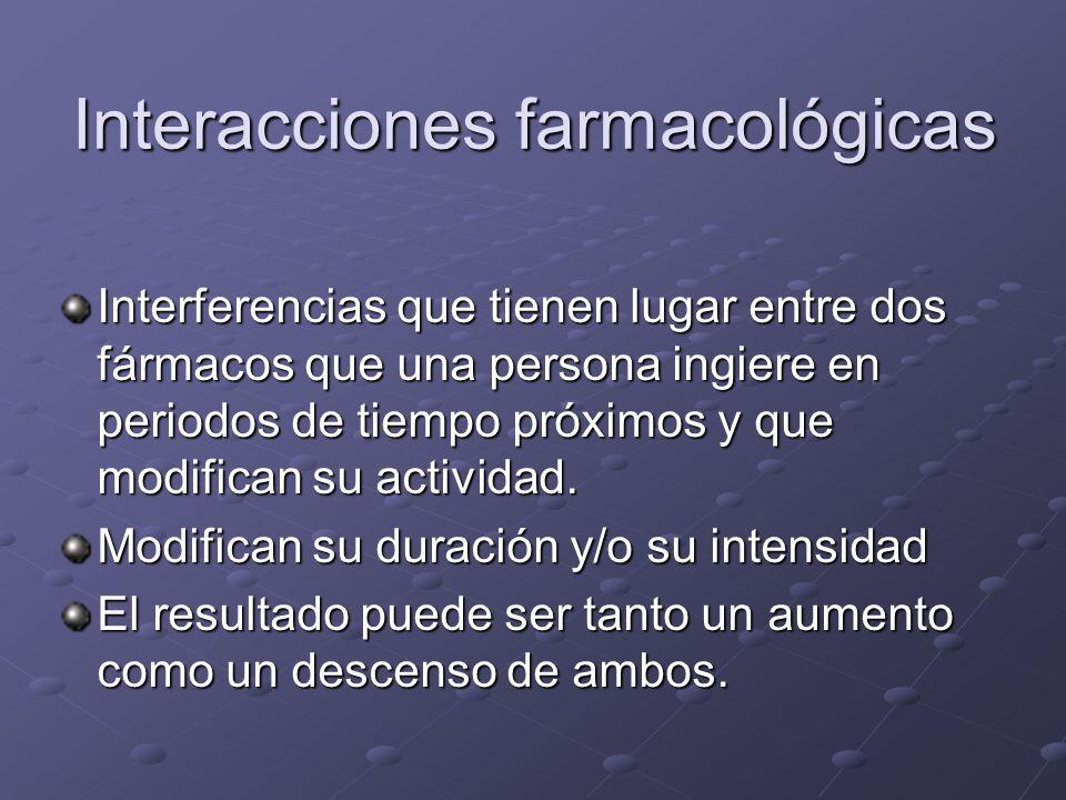Interacciones farmacológicas Interferencias que tienen lugar entre dos fármacos que una persona ingiere en periodos de tiempo próximos y que modifican