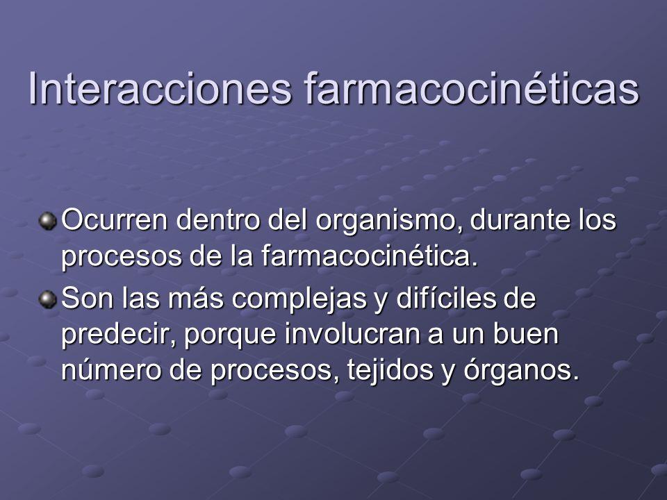 Interacciones farmacocinéticas Ocurren dentro del organismo, durante los procesos de la farmacocinética. Son las más complejas y difíciles de predecir