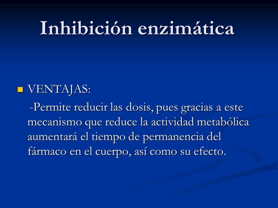 Inhibición enzimática VENTAJAS: VENTAJAS: -Permite reducir las dosis, pues gracias a este mecanismo que reduce la actividad metabólica aumentará el ti