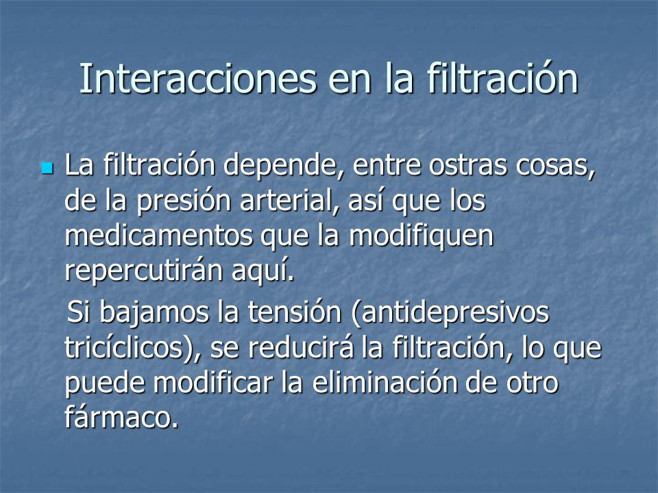 Interacciones en la filtración La filtración depende, entre ostras cosas, de la presión arterial, así que los medicamentos que la modifiquen repercuti