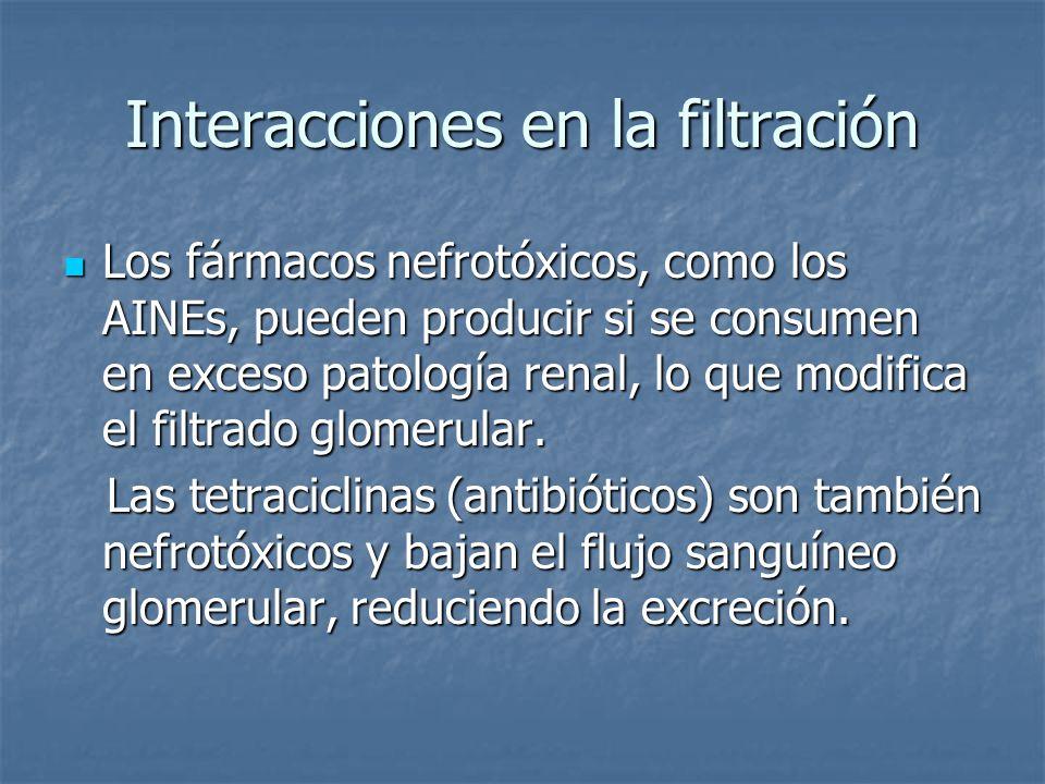 Interacciones en la filtración Los fármacos nefrotóxicos, como los AINEs, pueden producir si se consumen en exceso patología renal, lo que modifica el