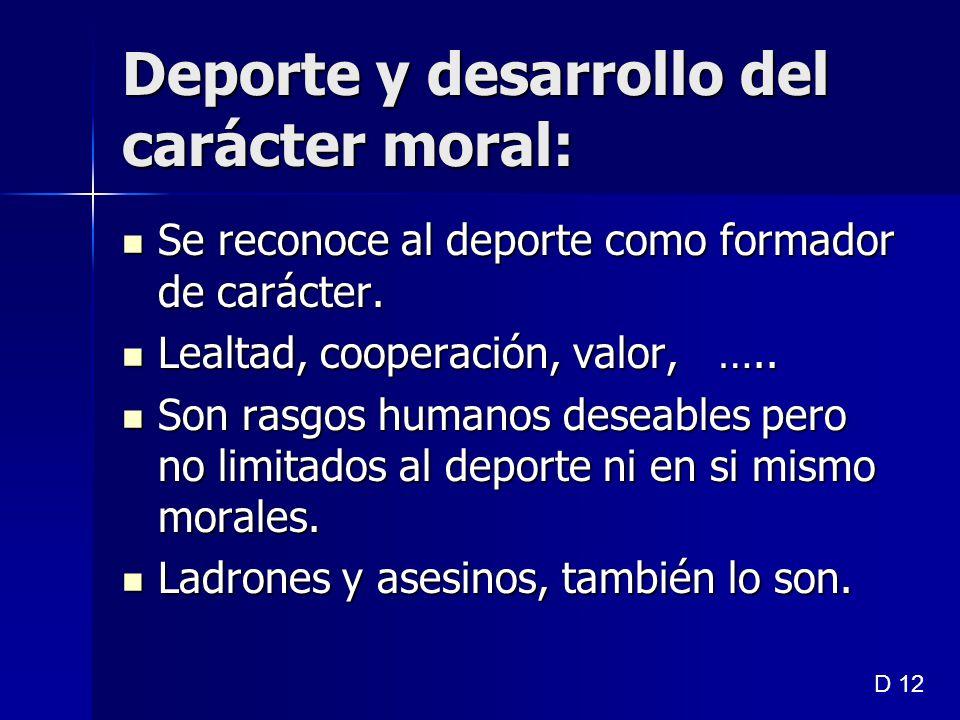 Deporte y desarrollo del carácter moral: Se reconoce al deporte como formador de carácter. Se reconoce al deporte como formador de carácter. Lealtad,
