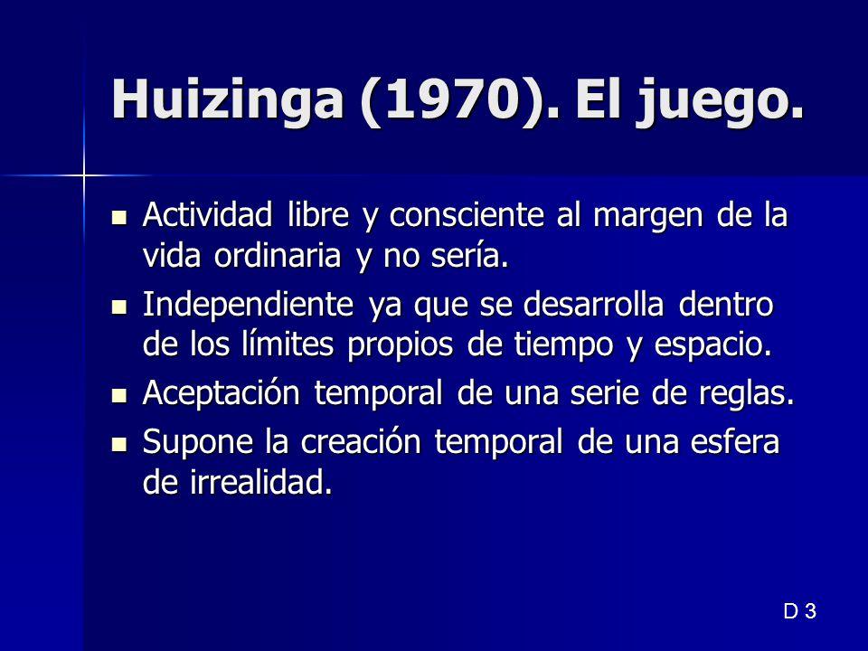 Huizinga (1970). El juego. Actividad libre y consciente al margen de la vida ordinaria y no sería. Actividad libre y consciente al margen de la vida o
