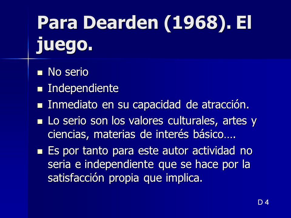 Para Dearden (1968). El juego. No serio No serio Independiente Independiente Inmediato en su capacidad de atracción. Inmediato en su capacidad de atra