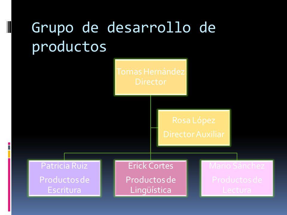 Grupo de desarrollo de productos Tomas Hernández Director Mario Sánchez Productos de Lectura Erick Cortes Productos de Lingüística Patricia Ruiz Produ
