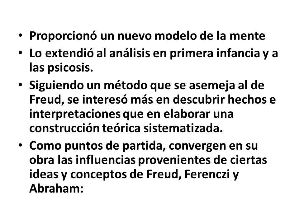 Proporcionó un nuevo modelo de la mente Lo extendió al análisis en primera infancia y a las psicosis.