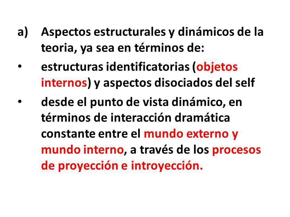 a)Aspectos estructurales y dinámicos de la teoria, ya sea en términos de: estructuras identificatorias (objetos internos) y aspectos disociados del se