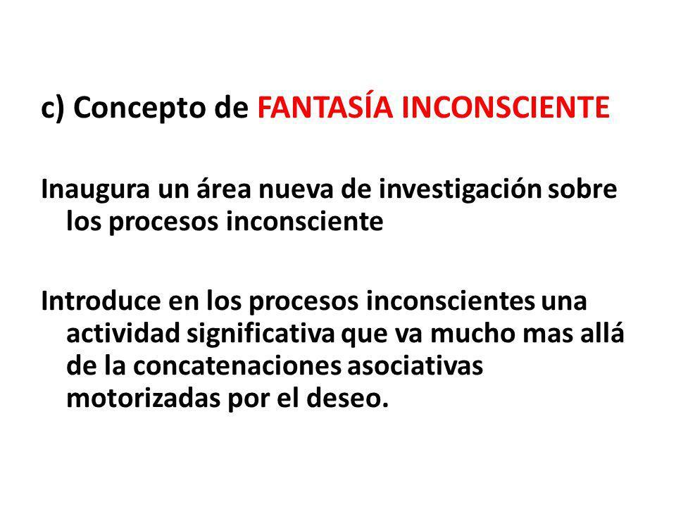 c) Concepto de FANTASÍA INCONSCIENTE Inaugura un área nueva de investigación sobre los procesos inconsciente Introduce en los procesos inconscientes u