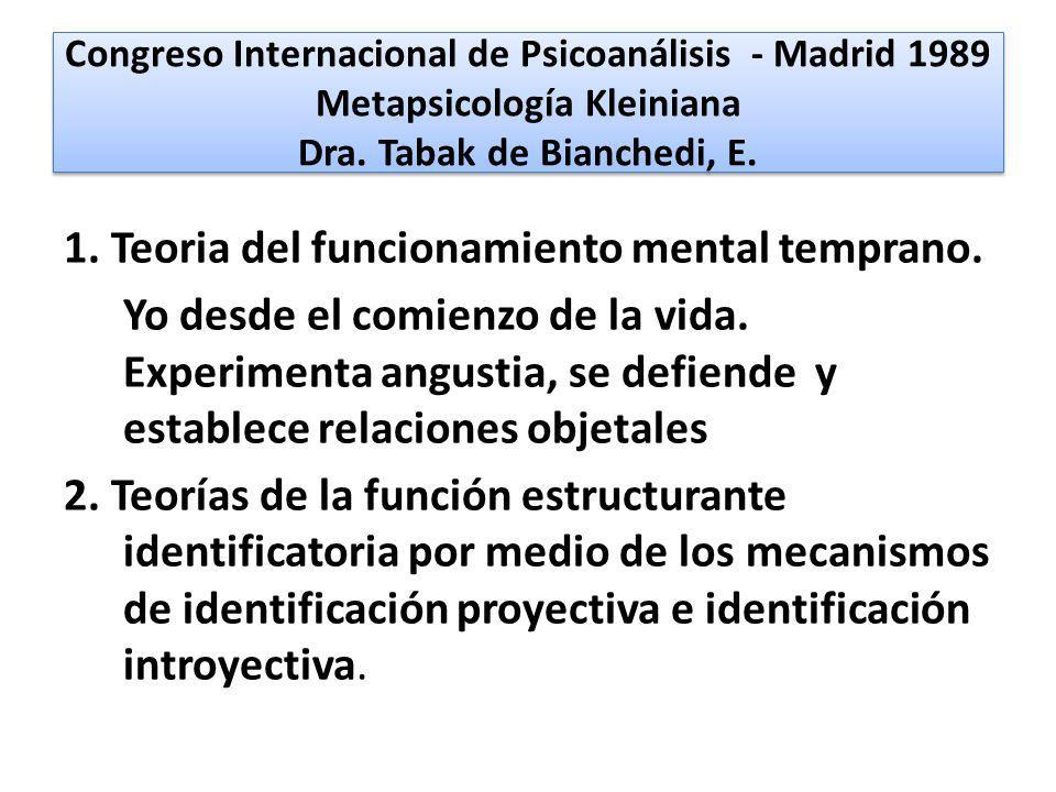 Congreso Internacional de Psicoanálisis - Madrid 1989 Metapsicología Kleiniana Dra. Tabak de Bianchedi, E. 1. Teoria del funcionamiento mental tempran