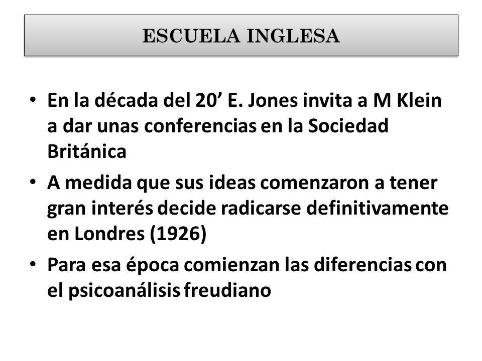 En la década del 20 E. Jones invita a M Klein a dar unas conferencias en la Sociedad Británica A medida que sus ideas comenzaron a tener gran interés