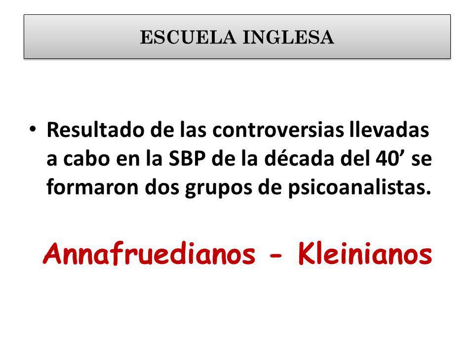 Resultado de las controversias llevadas a cabo en la SBP de la década del 40 se formaron dos grupos de psicoanalistas. Annafruedianos - Kleinianos ESC