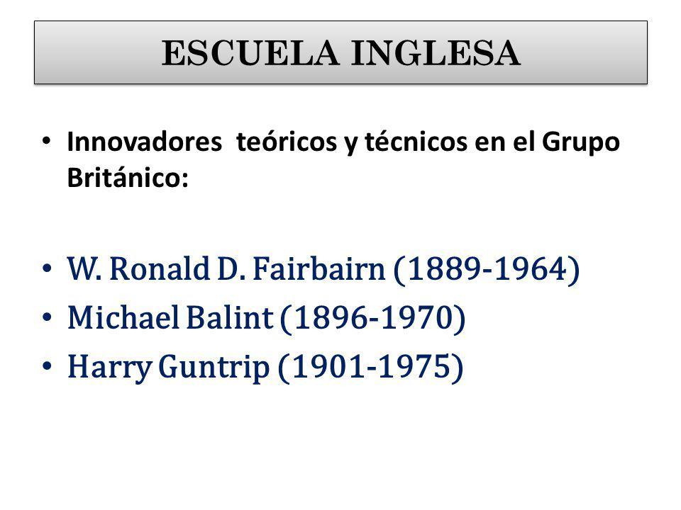 Innovadores teóricos y técnicos en el Grupo Británico: W. Ronald D. Fairbairn (1889-1964) Michael Balint (1896-1970) Harry Guntrip (1901-1975) ESCUELA