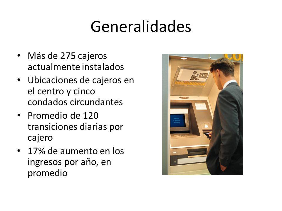 Generalidades Más de 275 cajeros actualmente instalados Ubicaciones de cajeros en el centro y cinco condados circundantes Promedio de 120 transiciones