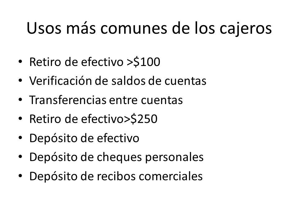 Usos más comunes de los cajeros Retiro de efectivo >$100 Verificación de saldos de cuentas Transferencias entre cuentas Retiro de efectivo>$250 Depósito de efectivo Depósito de cheques personales Depósito de recibos comerciales