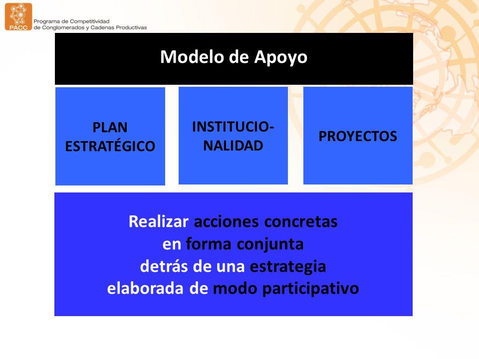 Modelo de Apoyo Realizar acciones concretas en forma conjunta detrás de una estrategia elaborada de modo participativo INSTITUCIO- NALIDAD PROYECTOS PLAN ESTRATÉGICO