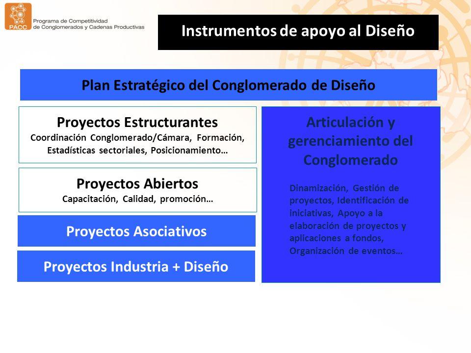 Proyectos Asociativos Proyectos Industria + Diseño Instrumentos de apoyo al Diseño Proyectos Estructurantes Coordinación Conglomerado/Cámara, Formació
