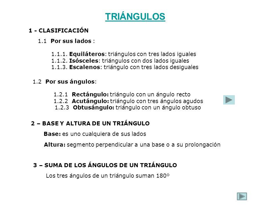 1 - CLASIFICACIÓN 1.1 Por sus lados : 1.1.1. Equiláteros: triángulos con tres lados iguales 1.1.2. Isósceles: triángulos con dos lados iguales 1.1.3.