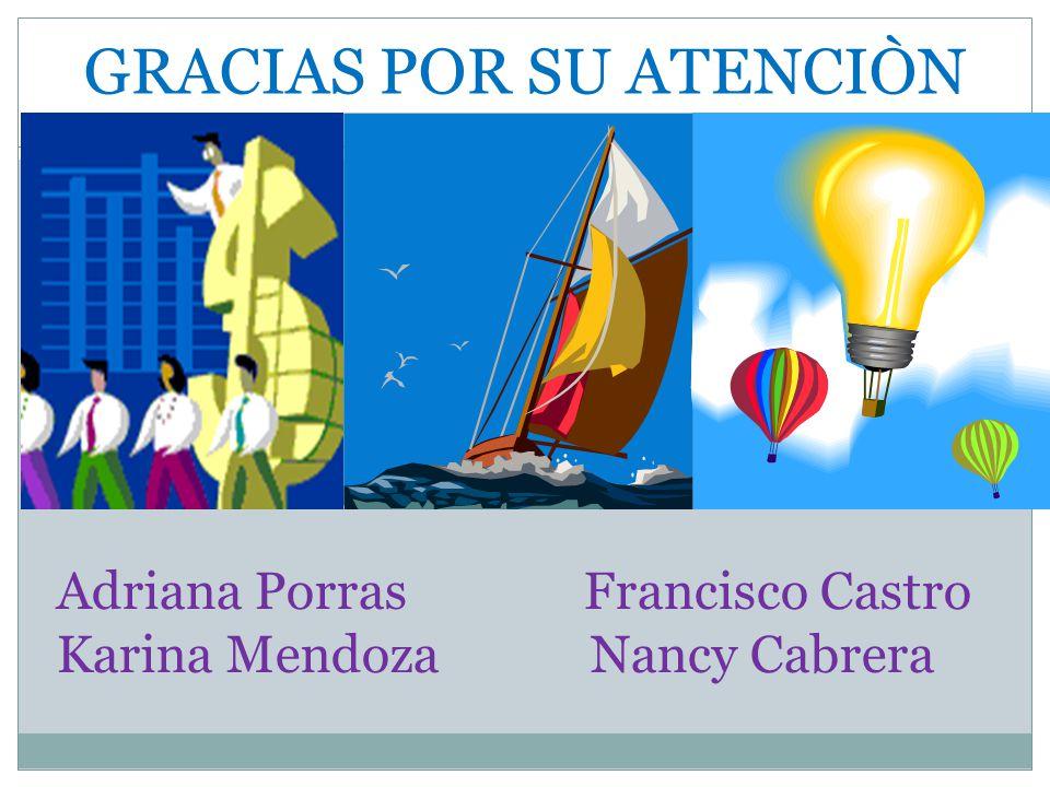 GRACIAS POR SU ATENCIÒN Adriana Porras Francisco Castro Karina Mendoza Nancy Cabrera