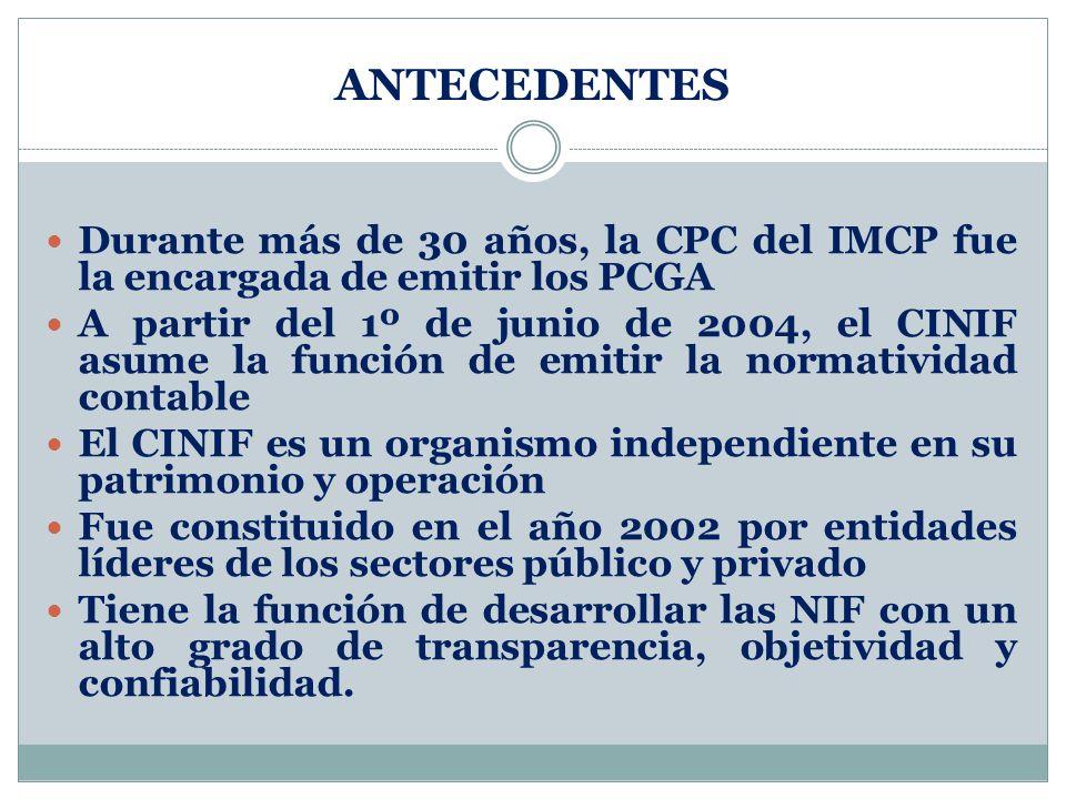 ANTECEDENTES Durante más de 30 años, la CPC del IMCP fue la encargada de emitir los PCGA A partir del 1º de junio de 2004, el CINIF asume la función d