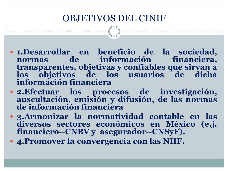 1.Desarrollar en beneficio de la sociedad, normas de información financiera, transparentes, objetivas y confiables que sirvan a los objetivos de los u