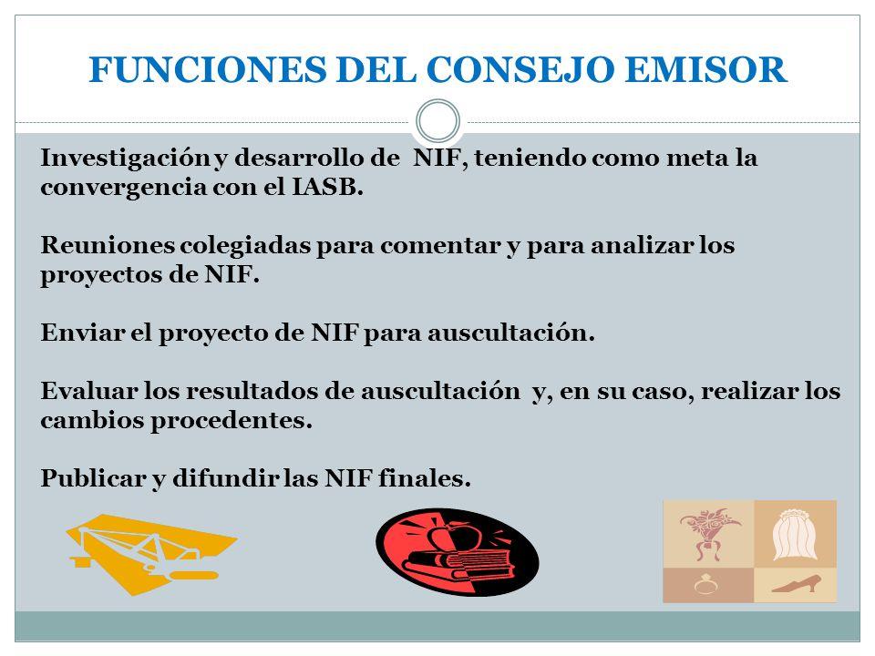 FUNCIONES DEL CONSEJO EMISOR Investigación y desarrollo de NIF, teniendo como meta la convergencia con el IASB. Reuniones colegiadas para comentar y p