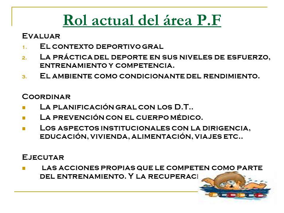 Rol actual del área P.F Evaluar 1. El contexto deportivo gral 2. La práctica del deporte en sus niveles de esfuerzo, entrenamiento y competencia. 3. E