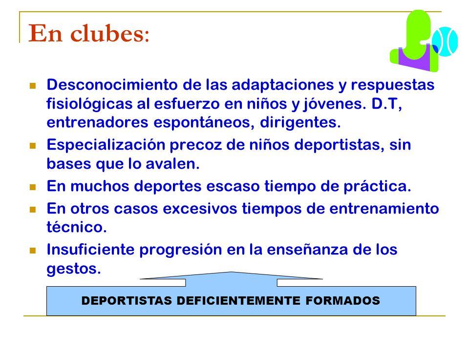 En clubes: Desconocimiento de las adaptaciones y respuestas fisiológicas al esfuerzo en niños y jóvenes. D.T, entrenadores espontáneos, dirigentes. Es