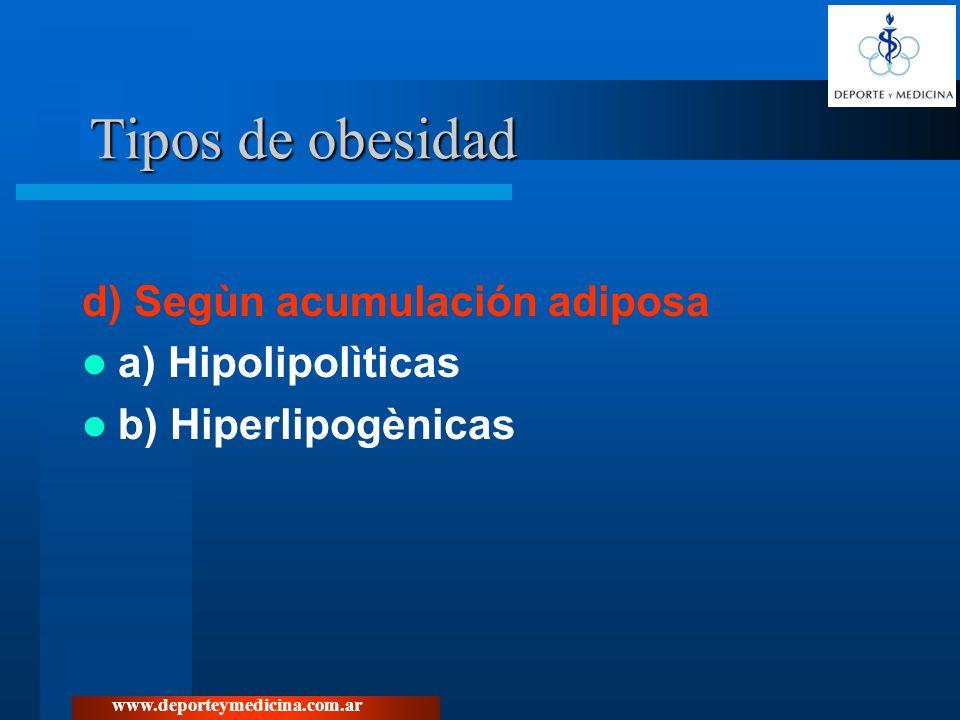 www.deporteymedicina.com.ar d) Segùn acumulación adiposa a) Hipolipolìticas b) Hiperlipogènicas Tipos de obesidad