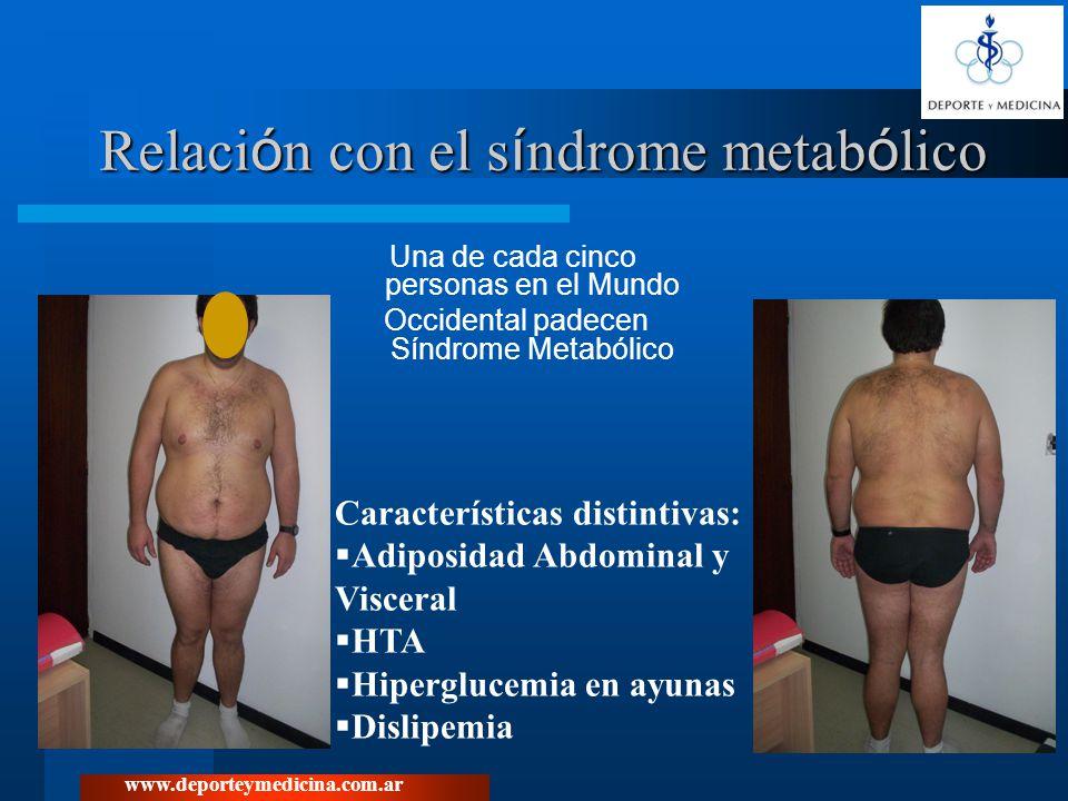 www.deporteymedicina.com.ar Sindrome Metabòlico Nuevos criterios diagnósticos: Obesidad central: circunferencia de cintura igual o mayor a 94 cm para varones y 80 cm para mujeres Junto con dos de los siguientes: Elevación de TG de 1.7 mmol/L o 150 mg/dL Bajo HDL-col: menos que 1.04 mmol/L (40 mg/dL) en varones y menos que 1.29 mmol/L (50 mg/dL) en mujeres Elevación de la T.A.: al menos 130/85 mm Hg Hiperglucemia de ayuno: glucosa igual o mayor que 5.6 mmol/L (100mg/dL) o diagnóstico previo de diabetes o empeoramiento de tolerancia a la glucosa.