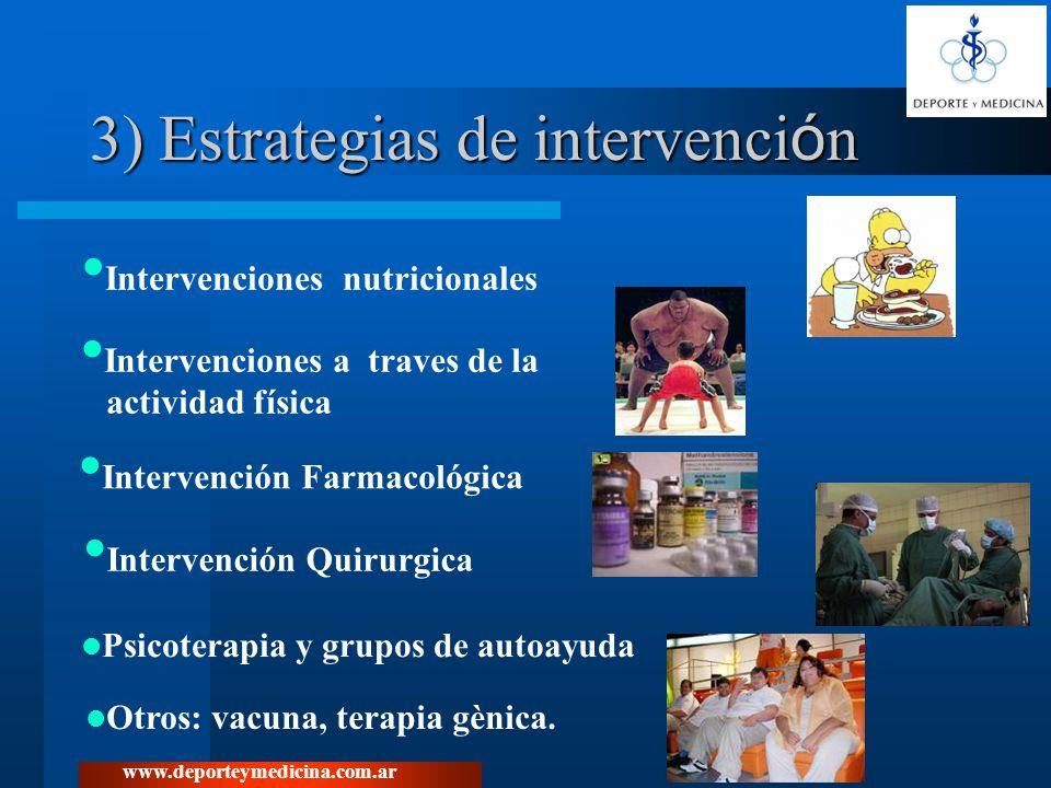 www.deporteymedicina.com.ar 3) Estrategias de intervenci ó n Intervenciones nutricionales Intervenciones a traves de la actividad física Intervención