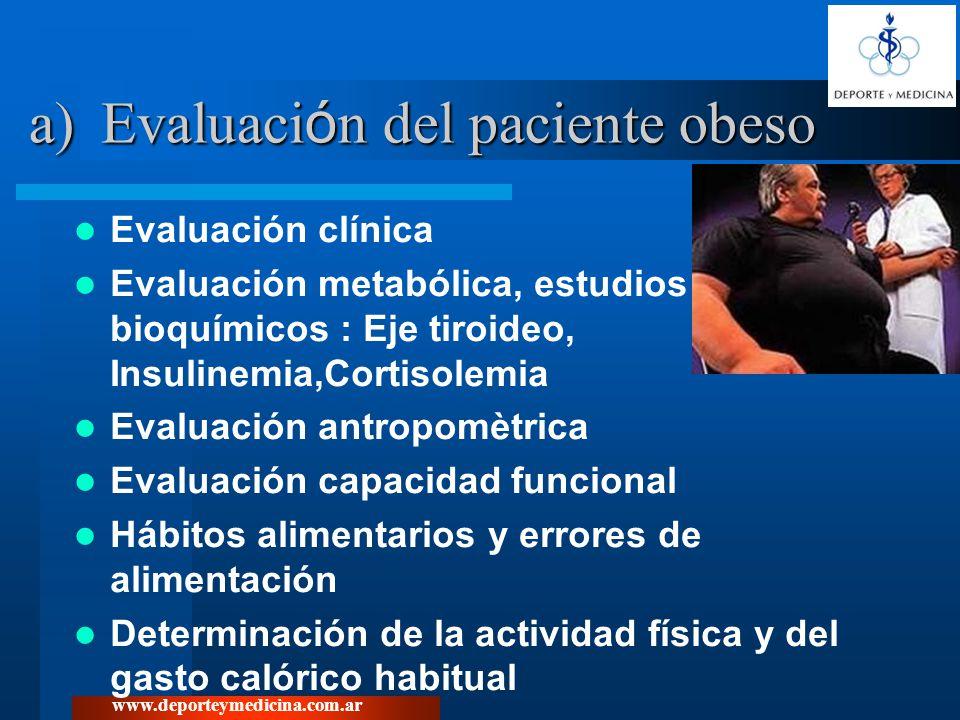 www.deporteymedicina.com.ar b) Objetivos del Tratamiento Disminuir la masa grasa Mantener o incrementar la masa magra (evitar la sarcopenia) Mejorar el perfil metabólico Modificar el estilo de vida