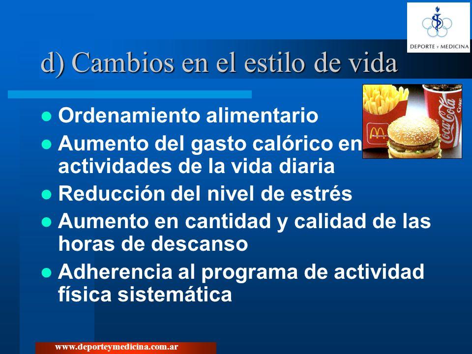 www.deporteymedicina.com.ar d) Cambios en el estilo de vida Ordenamiento alimentario Aumento del gasto calórico en actividades de la vida diaria Reduc