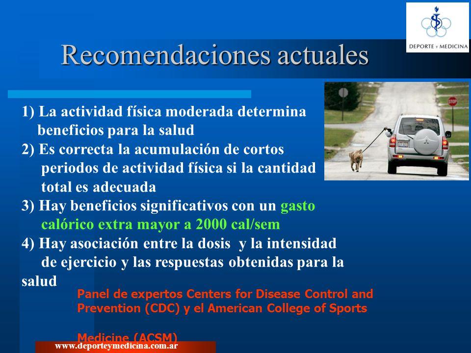 www.deporteymedicina.com.ar Desde Centers for Disease Control and Prevention en 1995 se recomienda 30 minutos de ejercicio de intensidad moderada, la mayoría de los días de la semana.