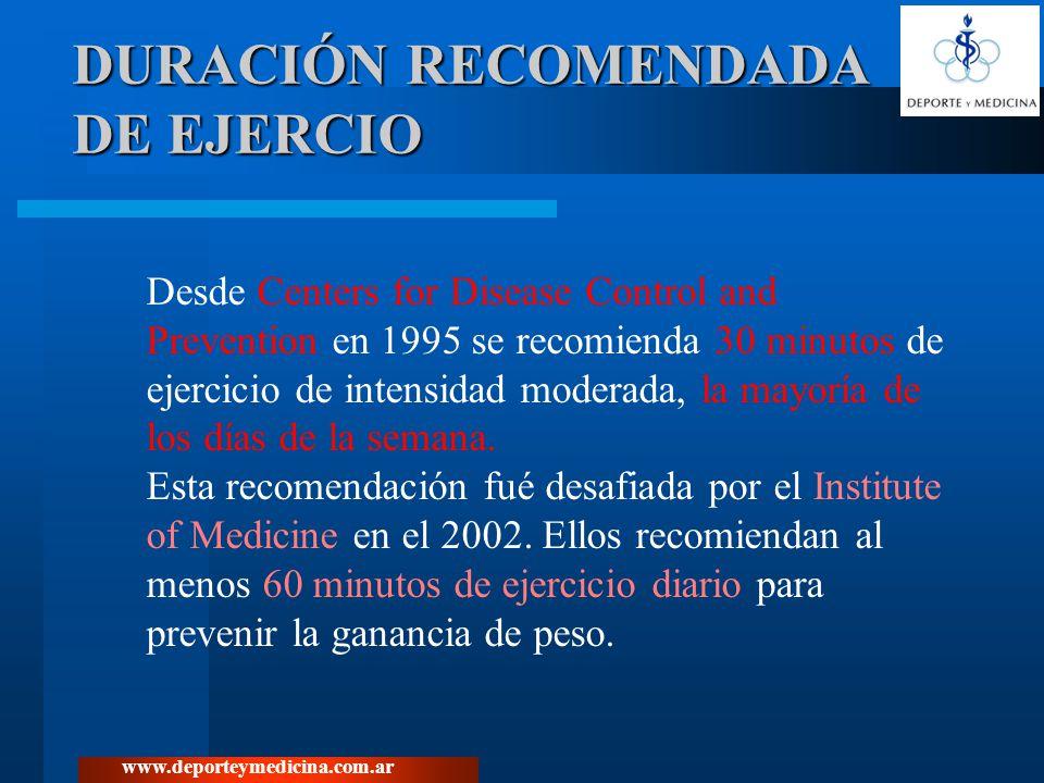www.deporteymedicina.com.ar De 302 adultos del estudio STRRIDE, 182 c/ criterios de: sedentarios, con sobrepeso y dislipemia.