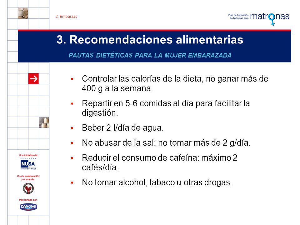 3. Recomendaciones alimentarias PAUTAS DIETÉTICAS PARA LA MUJER EMBARAZADA Controlar las calorías de la dieta, no ganar más de 400 g a la semana. Repa