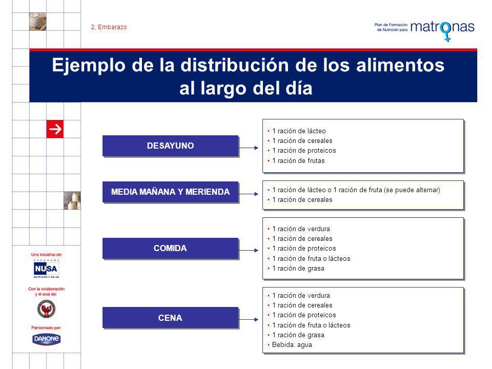 Ejemplo de la distribución de los alimentos al largo del día 1 ración de lácteo 1 ración de cereales 1 ración de proteicos 1 ración de frutas 1 ración