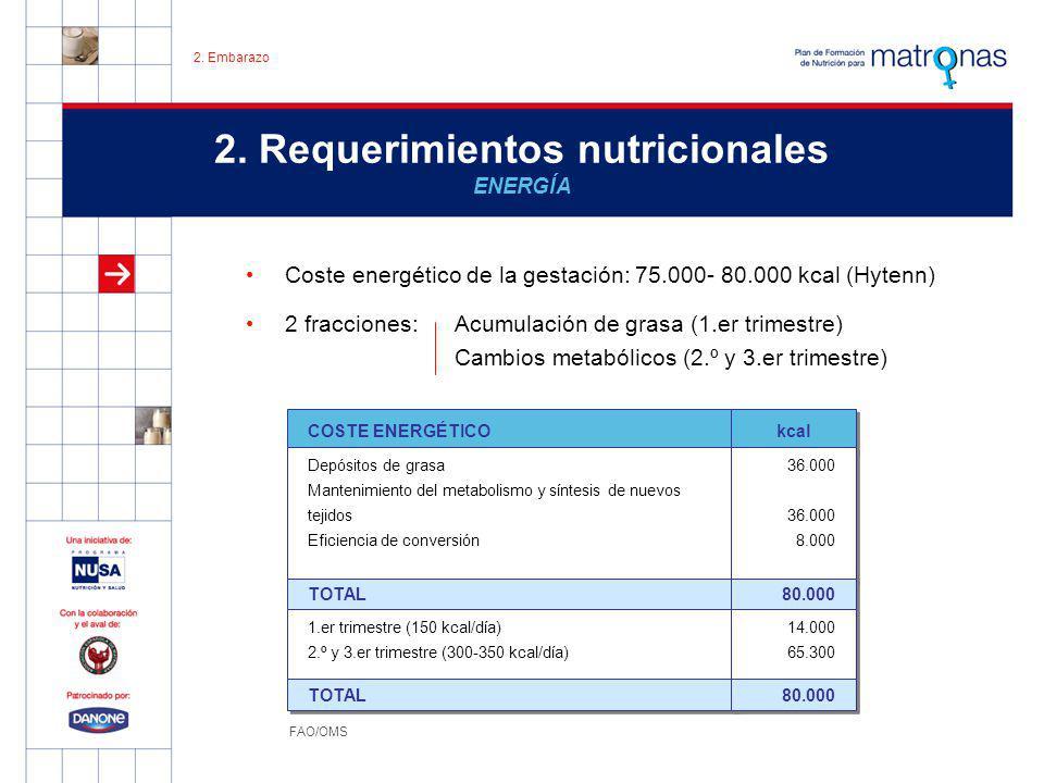 2. Requerimientos nutricionales ENERGÍA Coste energético de la gestación: 75.000- 80.000 kcal (Hytenn) 2 fracciones:Acumulación de grasa (1.er trimest
