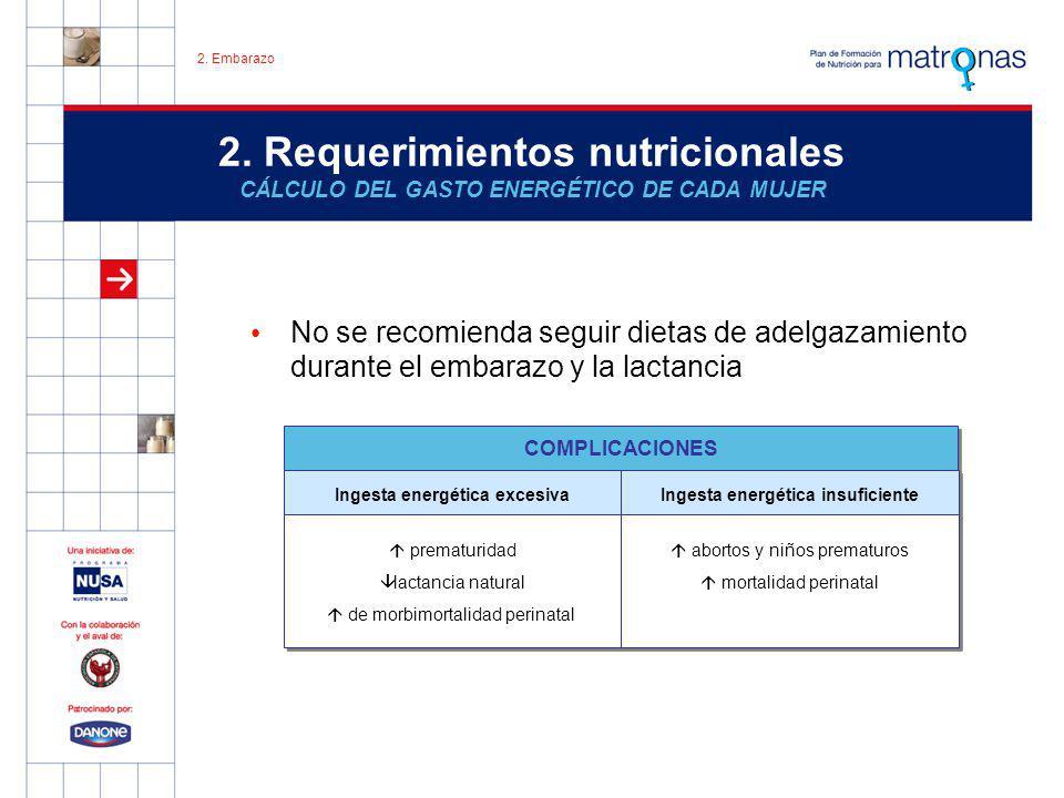 2. Requerimientos nutricionales CÁLCULO DEL GASTO ENERGÉTICO DE CADA MUJER No se recomienda seguir dietas de adelgazamiento durante el embarazo y la l