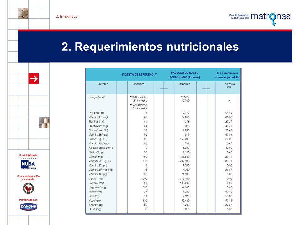 2. Requerimientos nutricionales 2. Embarazo