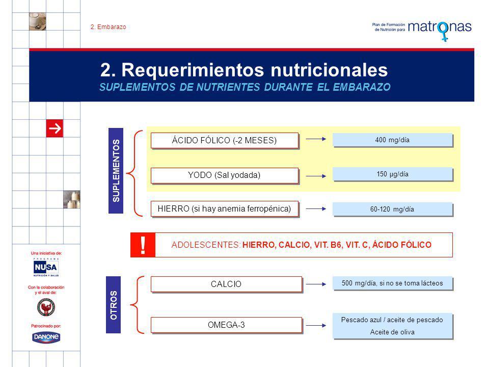 MUJERES VEGETARIANAS ESTRICTAS: VITA B 12 2. Requerimientos nutricionales SUPLEMENTOS DE NUTRIENTES DURANTE EL EMBARAZO SUPLEMENTOS OTROS ÁCIDO FÓLICO